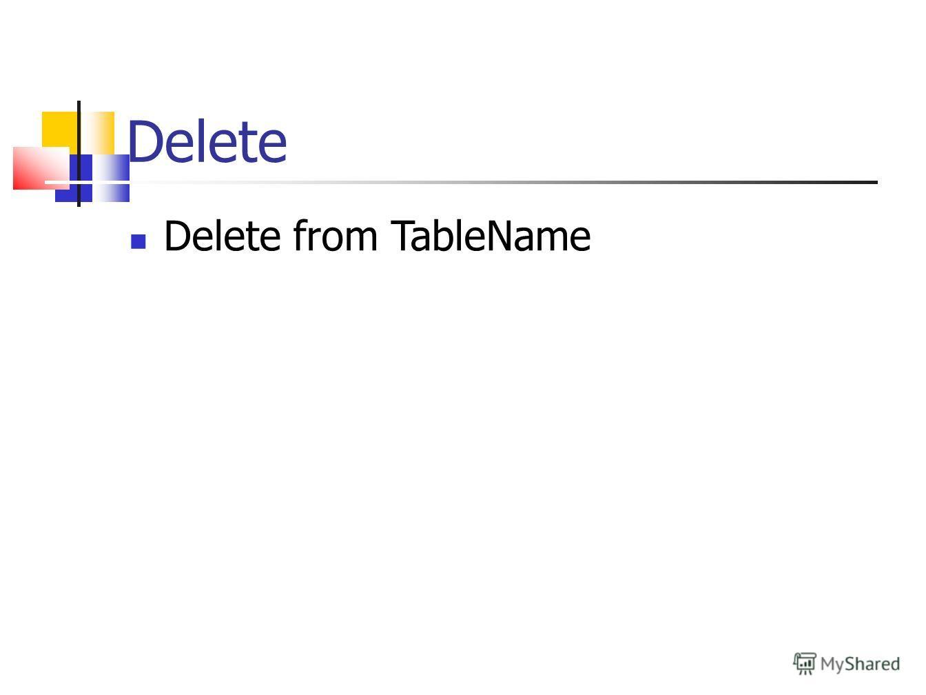 Delete Delete from TableName