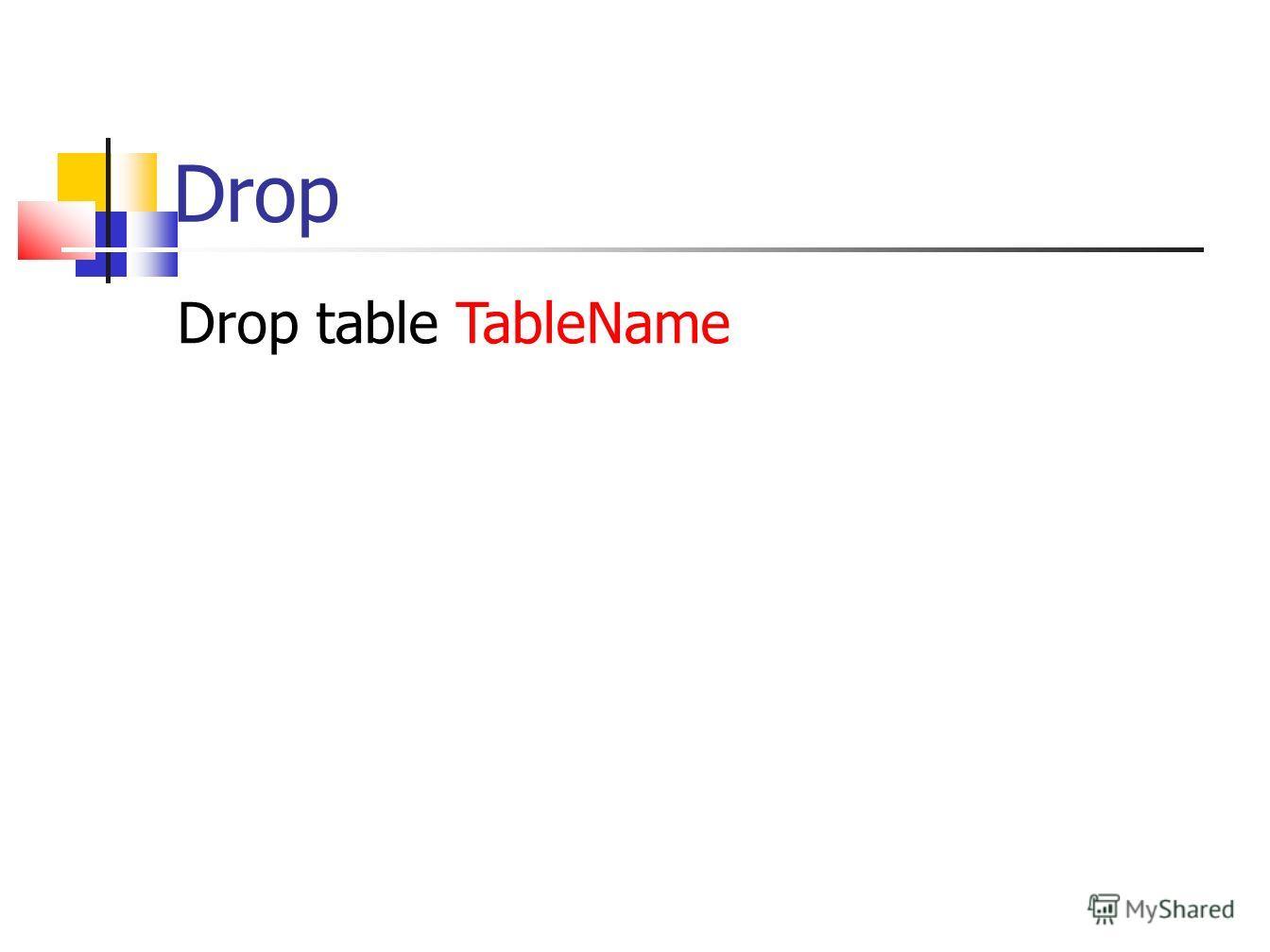 Drop Drop table TableName