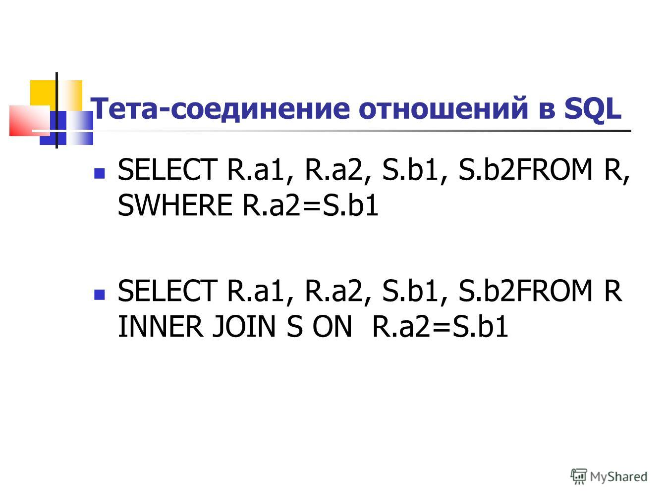 Тета-соединение отношений в SQL SELECT R.a1, R.a2, S.b1, S.b2FROM R, SWHERE R.a2=S.b1 SELECT R.a1, R.a2, S.b1, S.b2FROM R INNER JOIN S ON R.a2=S.b1