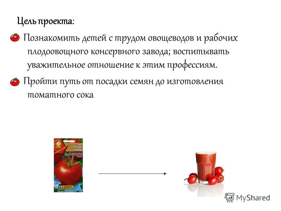 Цель проекта: Познакомить детей с трудом овощеводов и рабочих плодоовощного консервного завода; воспитывать уважительное отношение к этим профессиям. Пройти путь от посадки семян до изготовления томатного сока