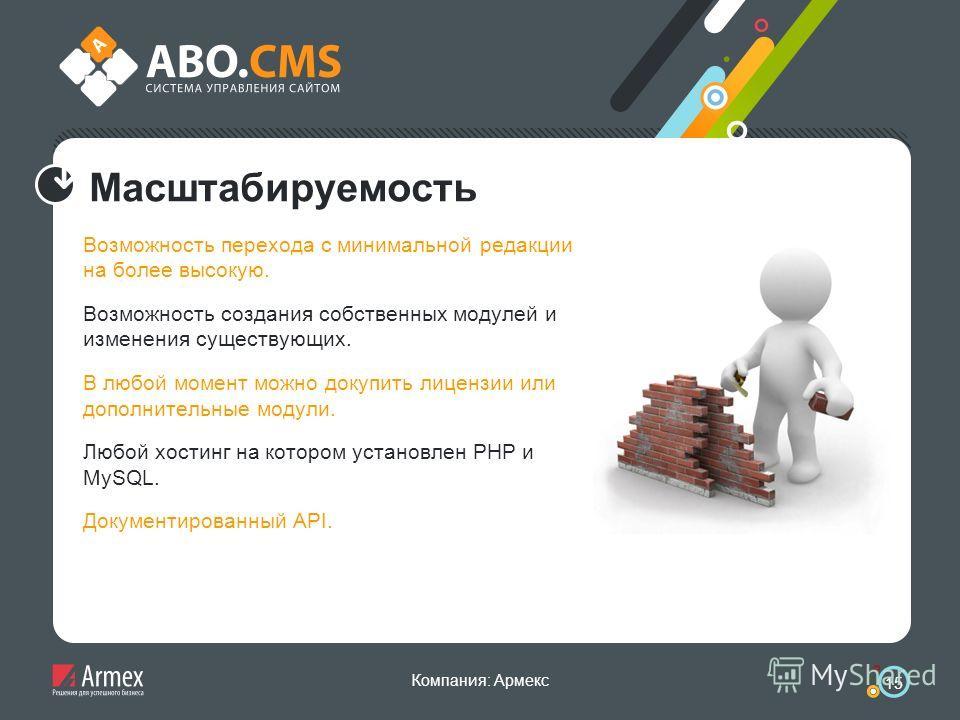 Компания: Армекс 15 Масштабируемость Возможность перехода с минимальной редакции на более высокую. Возможность создания собственных модулей и изменения существующих. В любой момент можно докупить лицензии или дополнительные модули. Любой хостинг на к