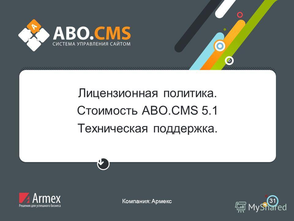 Компания: Армекс 31 Лицензионная политика. Стоимость ABO.CMS 5.1 Техническая поддержка.