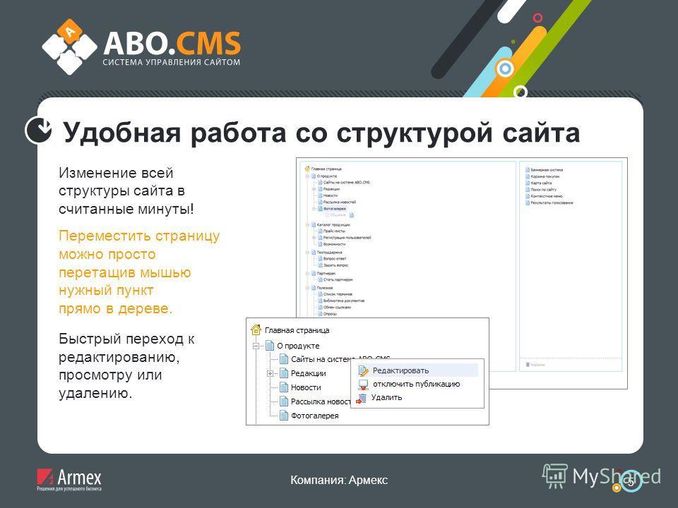 Компания: Армекс 5 Удобная работа со структурой сайта Изменение всей структуры сайта в считанные минуты! Переместить страницу можно просто перетащив мышью нужный пункт прямо в дереве. Быстрый переход к редактированию, просмотру или удалению.