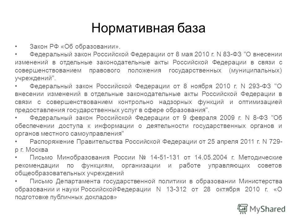 Нормативная база Закон РФ «Об образовании». Федеральный закон Российской Федерации от 8 мая 2010 г. N 83-ФЗ