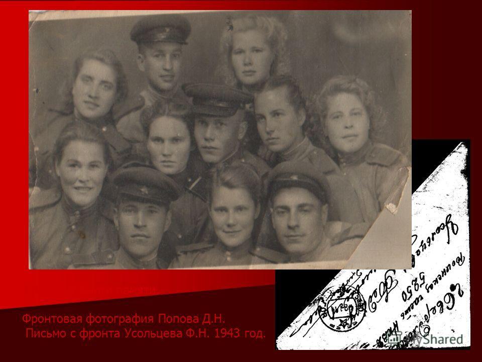 Фрагмент Книги памяти. Фронтовая фотография Попова Д.Н. Письмо с фронта Усольцева Ф.Н. 1943 год.