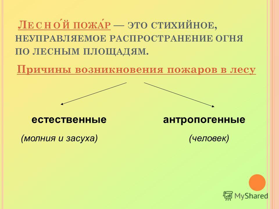 Л ЕСНОЙ ПОЖАР ЭТО СТИХИЙНОЕ, НЕУПРАВЛЯЕМОЕ РАСПРОСТРАНЕНИЕ ОГНЯ ПО ЛЕСНЫМ ПЛОЩАДЯМ. Причины возникновения пожаров в лесу естественныеантропогенные (молния и засуха) (человек)