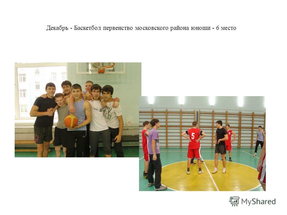 Декабрь - Баскетбол первенство московского района юноши - 6 место