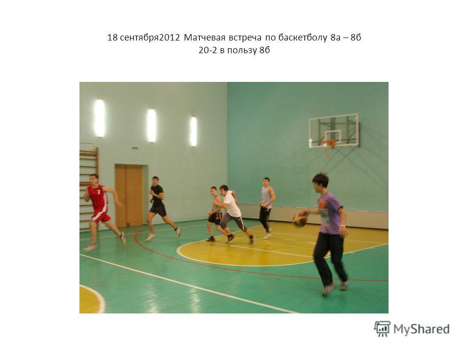 18 сентября2012 Матчевая встреча по баскетболу 8а – 8б 20-2 в пользу 8б