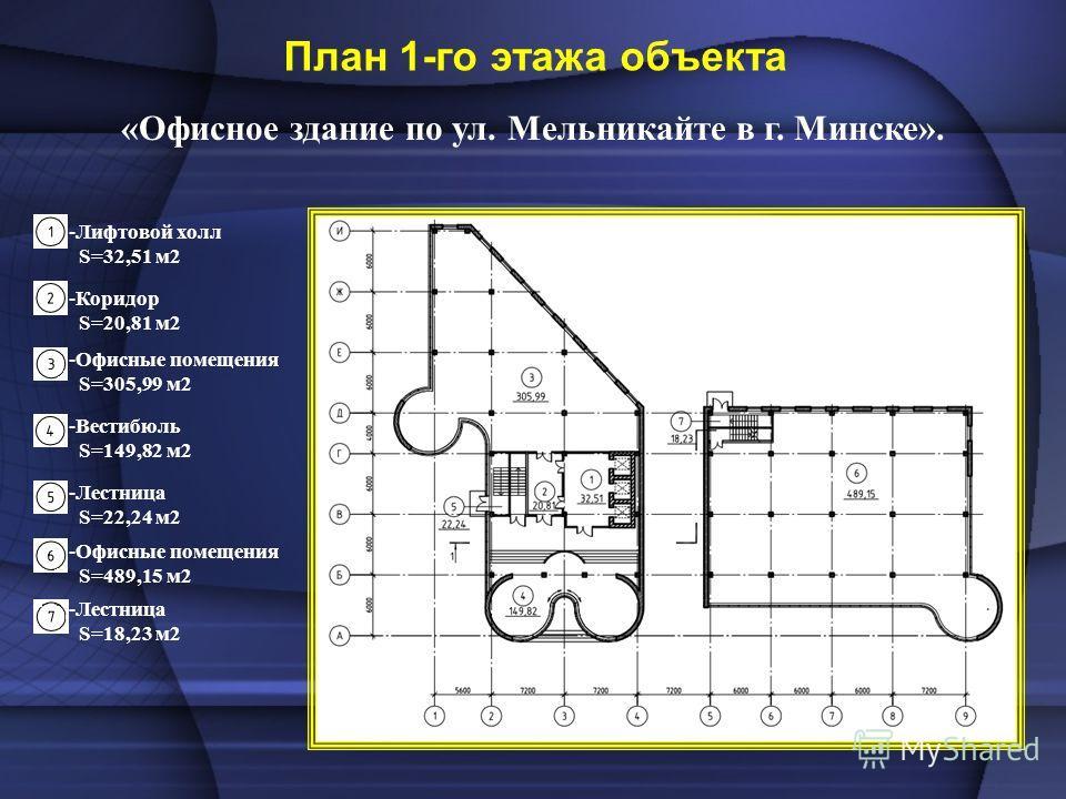 «Офисное здание по ул. Мельникайте в г. Минске». План 1-го этажа объекта -Коридор S=20,81 м2 -Лифтовой холл S=32,51 м2 -Лестница S=22,24 м2 -Офисные помещения S=305,99 м2 -Офисные помещения S=489,15 м2 -Вестибюль S=149,82 м2 -Лестница S=18,23 м2