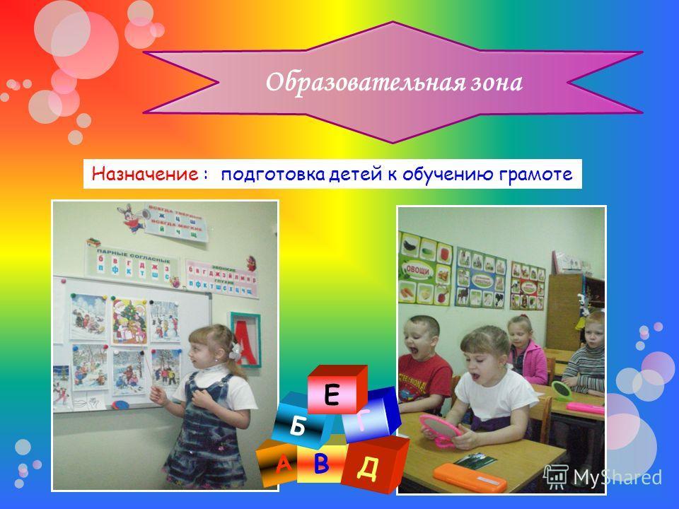Образовательная зона Назначение : подготовка детей к обучению грамоте А В Д Б Г Е