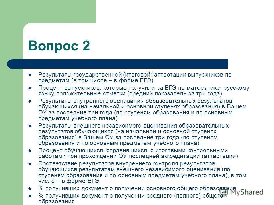 Вопрос 2 Результаты государственной (итоговой) аттестации выпускников по предметам (в том числе – в форме ЕГЭ) Процент выпускников, которые получили за ЕГЭ по математике, русскому языку положительные отметки (средний показатель за три года) Результат