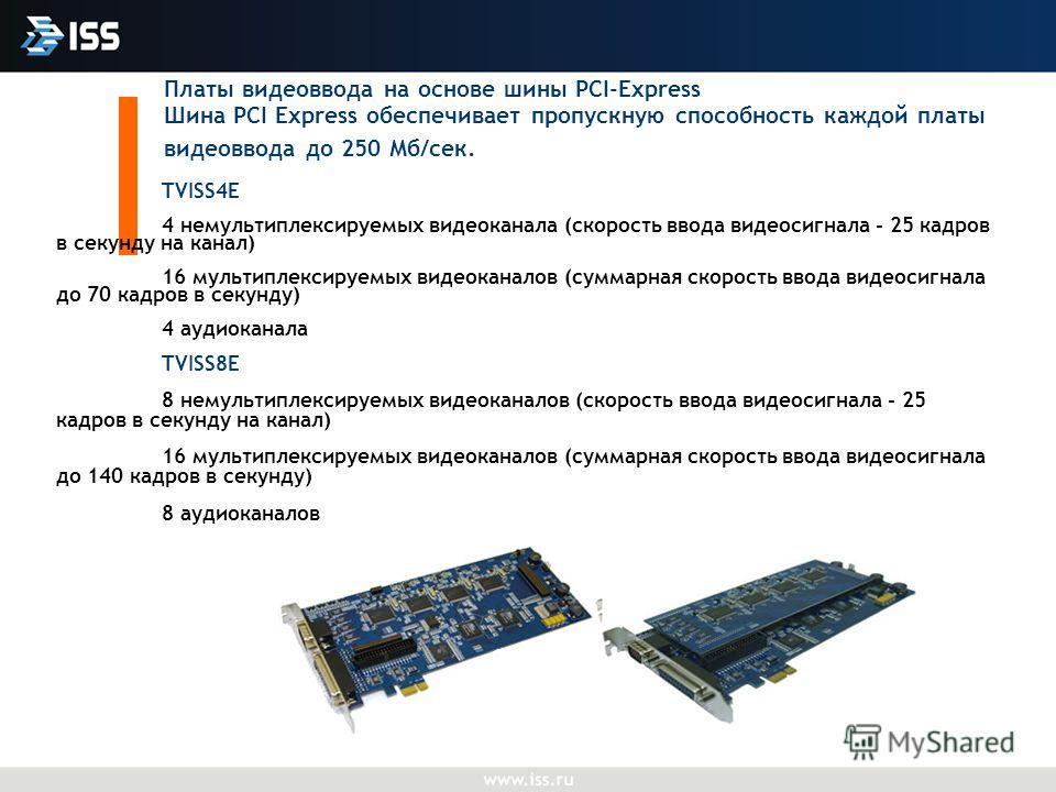 Платы видеоввода на основе шины PCI-Express Шина PCI Еxpress обеспечивает пропускную способность каждой платы видеоввода до 250 Мб/сек. TVISS4E 4 немультиплексируемых видеоканала (скорость ввода видеосигнала - 25 кадров в секунду на канал) 16 мультип