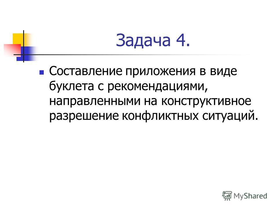 Задача 4. Составление приложения в виде буклета с рекомендациями, направленными на конструктивное разрешение конфликтных ситуаций.