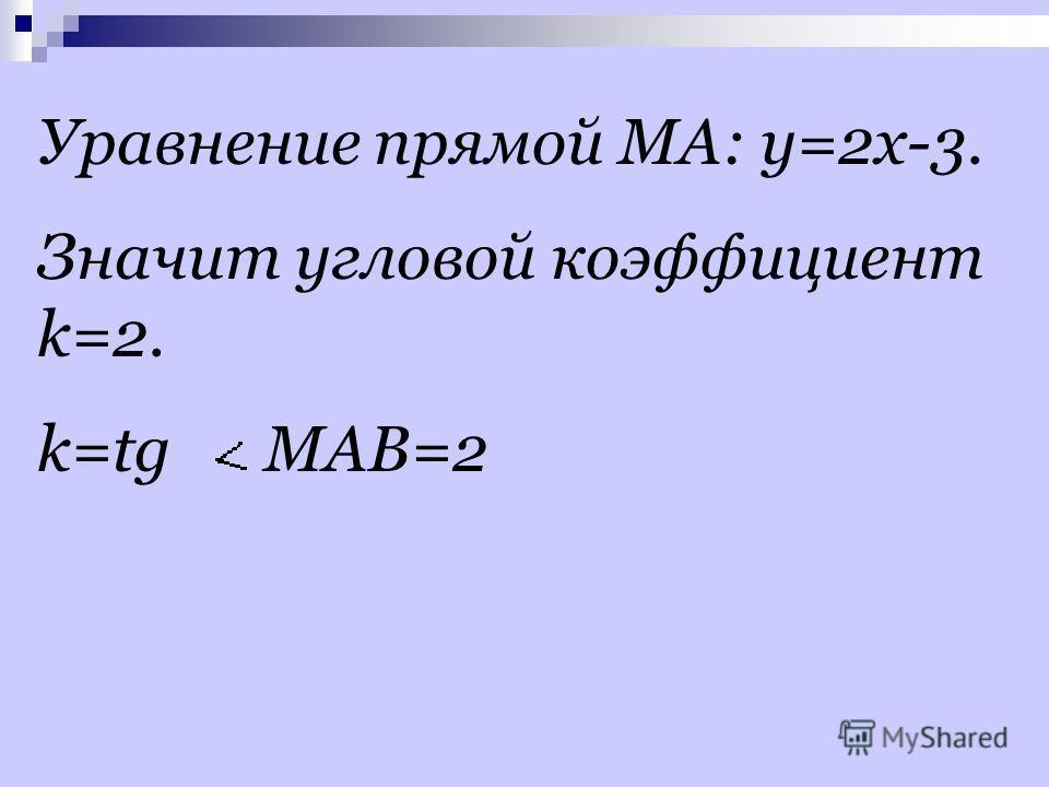 Уравнение прямой МА: y=2x-3. Значит угловой коэффициент k=2. k=tg MAB=2