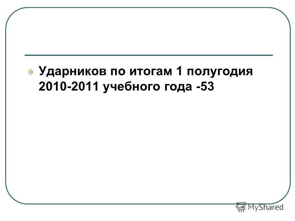 Ударников по итогам 1 полугодия 2010-2011 учебного года -53