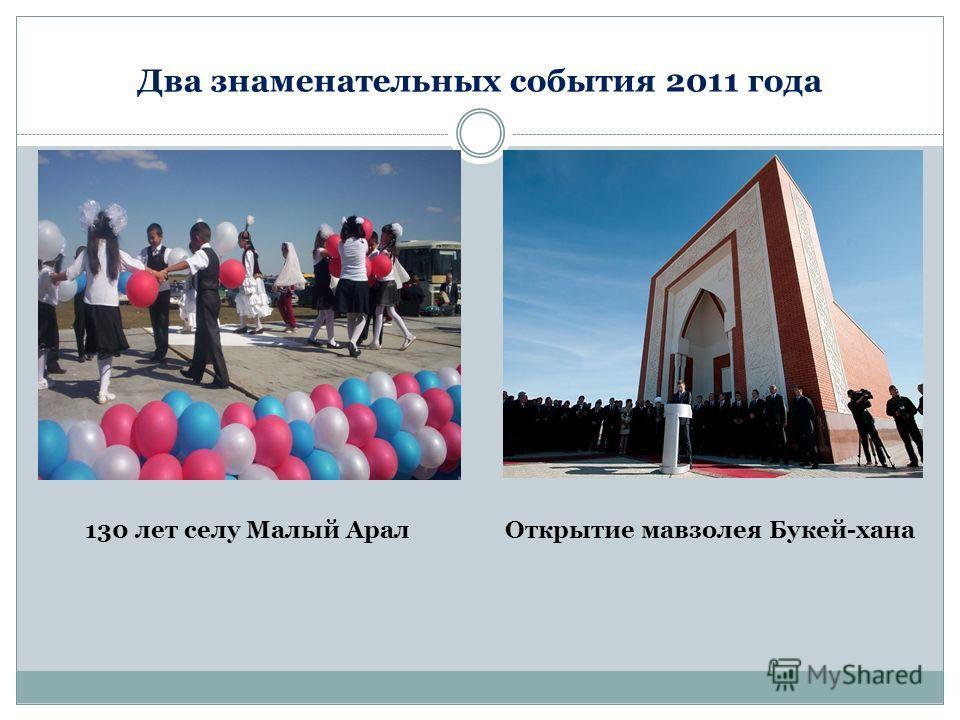 Два знаменательных события 2011 года 130 лет селу Малый АралОткрытие мавзолея Букей-хана