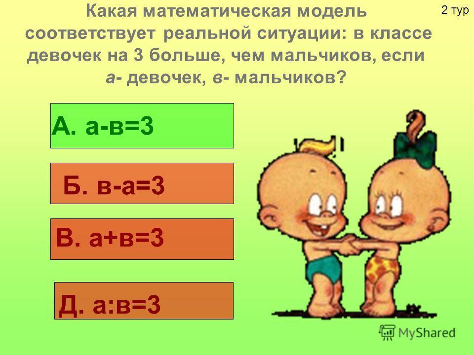 Какая математическая модель соответствует реальной ситуации: в классе девочек на 3 больше, чем мальчиков, если а- девочек, в- мальчиков? А. а-в=3 Б. в-а=3 В. а+в=3 Д. а:в=3 2 тур