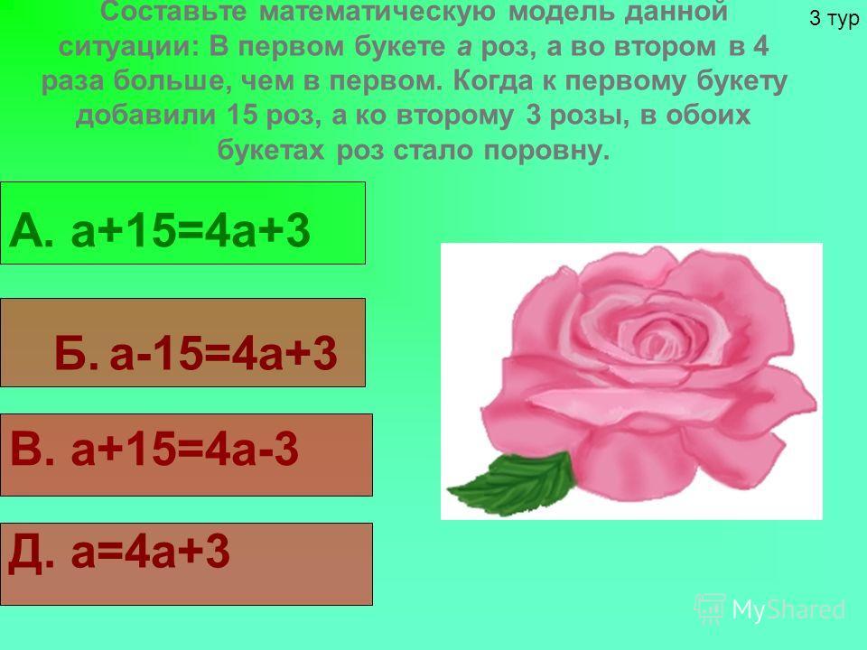 Составьте математическую модель данной ситуации: В первом букете а роз, а во втором в 4 раза больше, чем в первом. Когда к первому букету добавили 15 роз, а ко второму 3 розы, в обоих букетах роз стало поровну. А. а+15=4а+3 Б. а-15=4а+3 В. а+15=4а-3