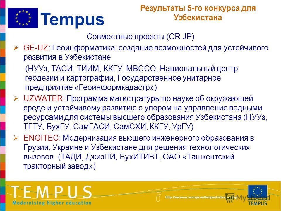 http://eacea.ec.europa.eu/tempus/index_en.php На 1 декабря 2012 года НУУз, ТГТУ, ТУИТ, БухГУ- 4 ФерПИ, ККГУ, УргГУ, СамСХИ - 3 ТИИМ, ТХТИ, КаршИЭИ, БухИТИВТ, СамГУ,СамГИИЯ - 2 ТГИК, ТАСИ, ТИТЛП, ТГПУ, УМЭД, АндГУ, ЖизПИ, КарГУ, НамГУ, НамИТИ, СамИЭС,
