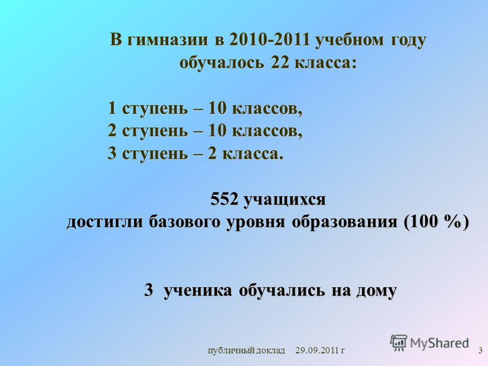 3 В гимназии в 2010-2011 учебном году обучалось 22 класса: 1 ступень – 10 классов, 1 ступень – 10 классов, 2 ступень – 10 классов, 2 ступень – 10 классов, 3 ступень – 2 класса. 3 ступень – 2 класса. 552 учащихся достигли базового уровня образования (