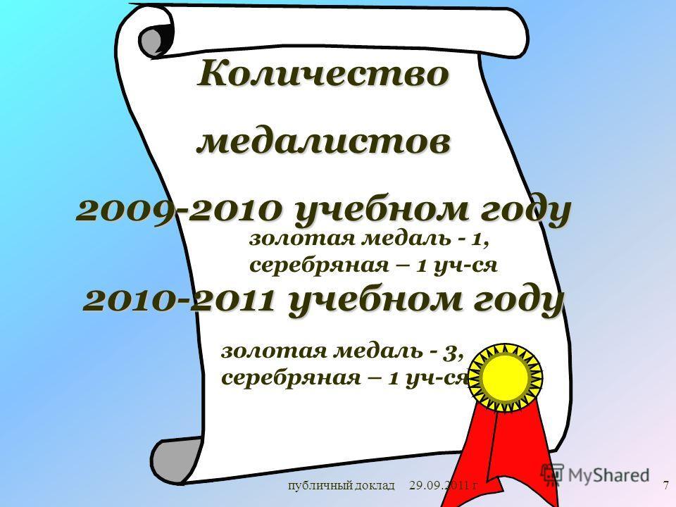 7 Количествомедалистов 2009-2010 учебном году золотая медаль - 1, серебряная – 1 уч-ся публичный доклад 29.09.2011 г 2010-2011 учебном году золотая медаль - 3, серебряная – 1 уч-ся