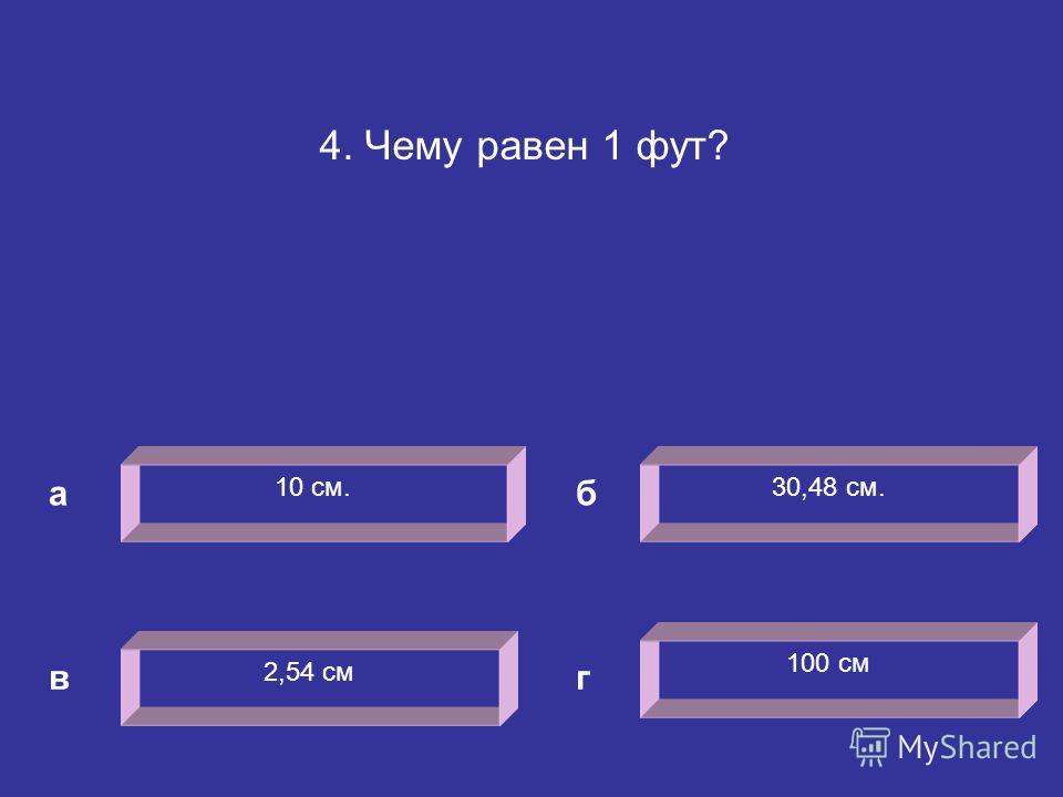 4. Чему равен 1 фут? 10 см. а 30,48 см. 2,54 см 100 см б вг
