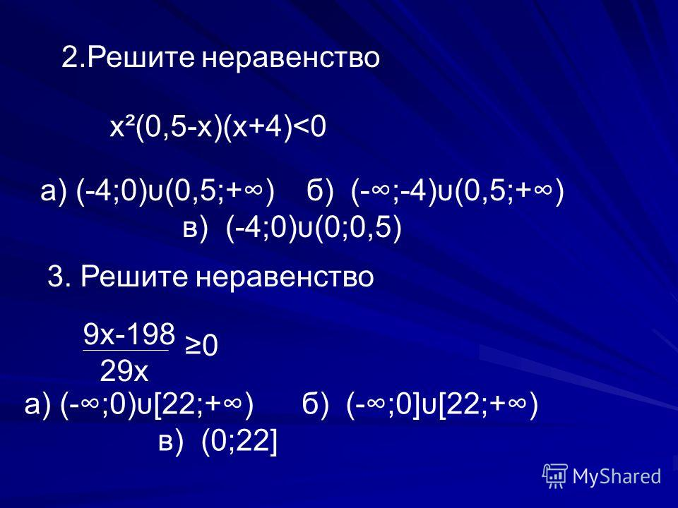 2.Решите неравенство х ²(0,5-х)(х+4)