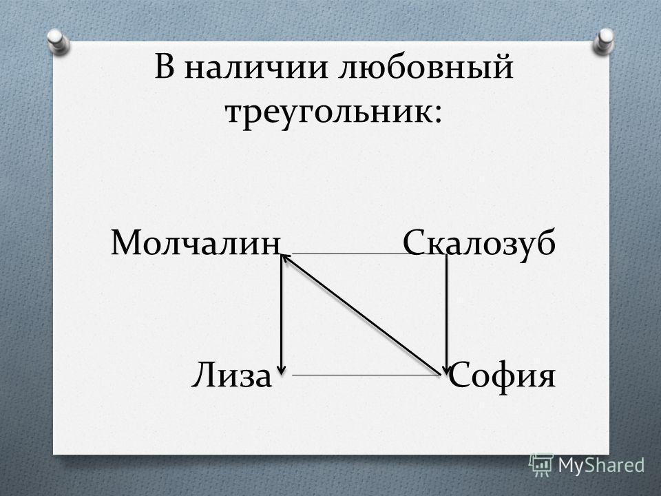 В наличии любовный треугольник: Молчалин Скалозуб Лиза София