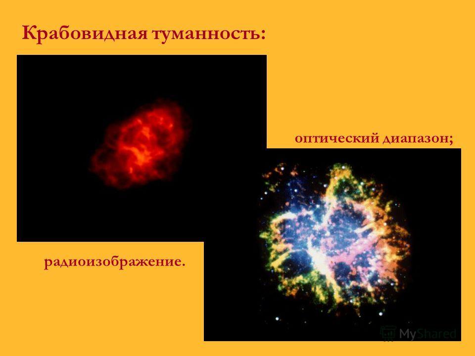 Крабовидная туманность: радиоизображение. оптический диапазон;