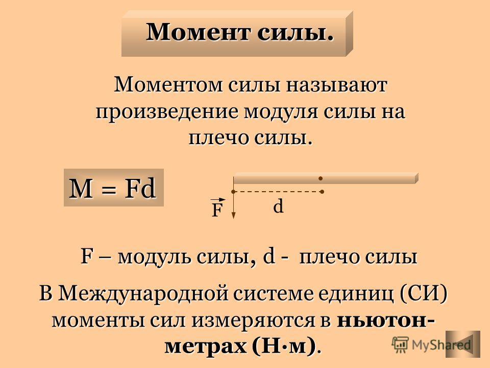 d F Момент силы. M = Fd F – модуль силы, d - плечо силы F – модуль силы, d - плечо силы Моментом силы называют произведение модуля силы на плечо силы. В Международной системе единиц (СИ) моменты сил измеряются в ньютон- метрах (Нм).