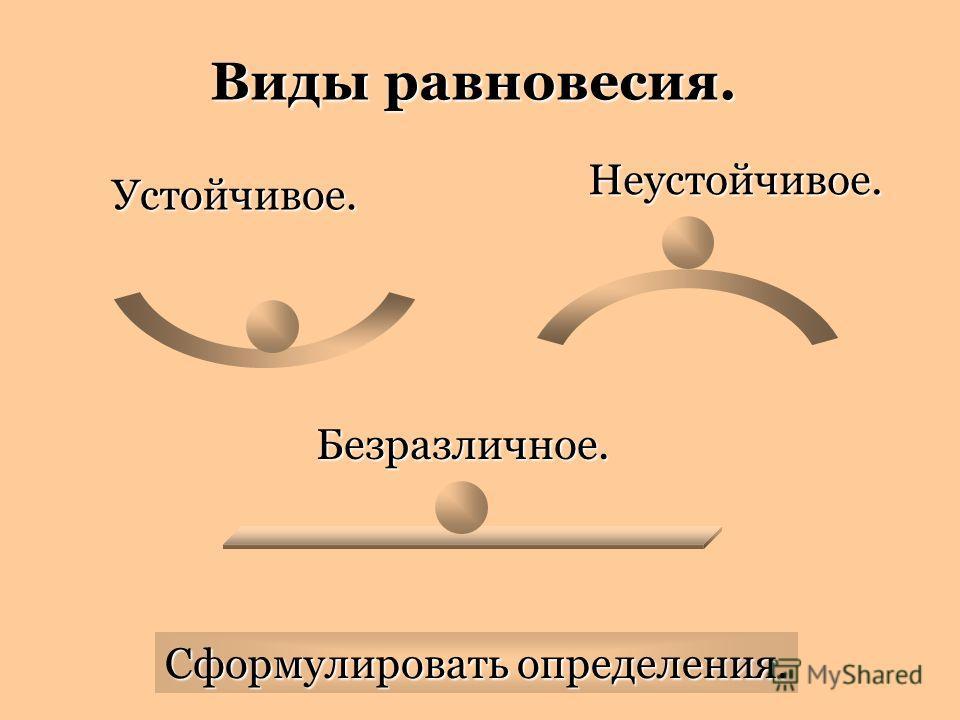 Виды равновесия. Устойчивое. Неустойчивое. Безразличное. Сформулировать определения.