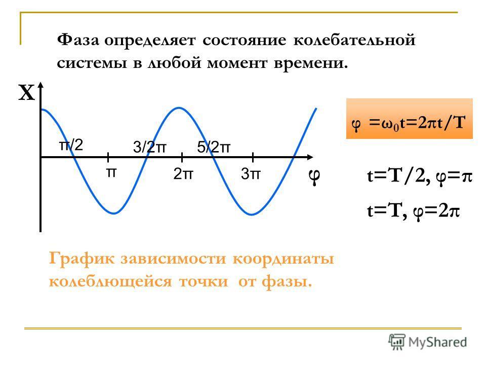 X φ π/2 π 3/2π 2π2π 5/2π 3π3π Фаза определяет состояние колебательной системы в любой момент времени. График зависимости координаты колеблющейся точки от фазы. φ =ω 0 t=2πt/T t=T/2, φ=π t=T, φ=2π