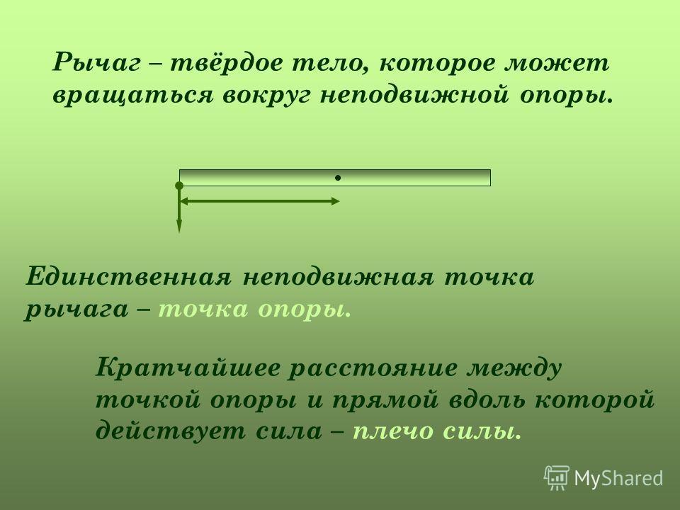 Рычаг – твёрдое тело, которое может вращаться вокруг неподвижной опоры. Единственная неподвижная точка рычага – точка опоры. Кратчайшее расстояние между точкой опоры и прямой вдоль которой действует сила – плечо силы.