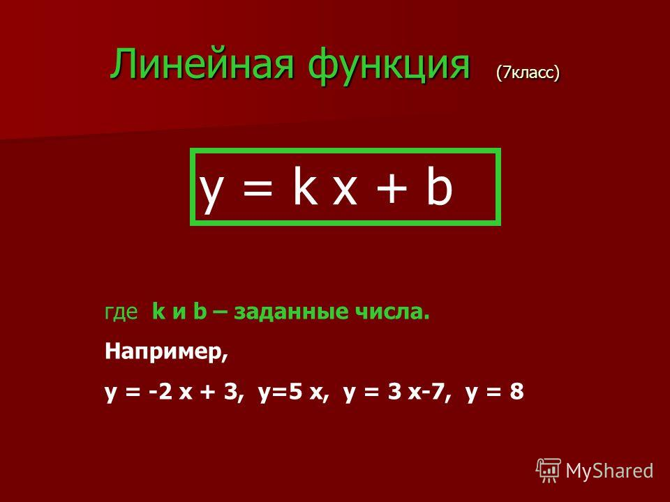 Линейная функция (7класс) y = k x + b где k и b – заданные числа. Например, y = -2 x + 3, y=5 x, y = 3 x-7, y = 8
