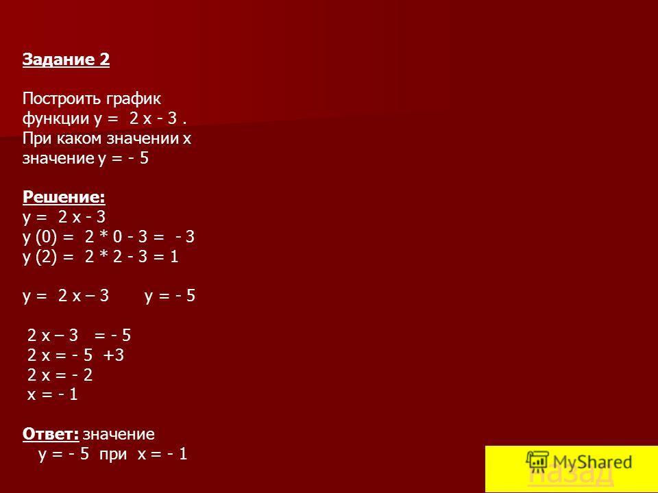 Задание 2 Построить график функции y = 2 x - 3. При каком значении x значение y = - 5 Решение: y = 2 x - 3 y (0) = 2 * 0 - 3 = - 3 y (2) = 2 * 2 - 3 = 1 y = 2 x – 3 y = - 5 2 x – 3 = - 5 2 x = - 5 +3 2 x = - 2 x = - 1 Ответ: значение y = - 5 при x =