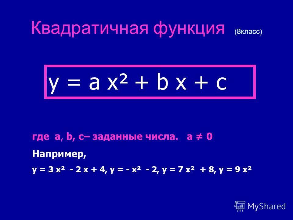 Квадратичная функция (8класс) y = a x² + b x + c где a, b, c– заданные числа. a 0 Например, y = 3 x² - 2 x + 4, y = - x² - 2, y = 7 x² + 8, y = 9 x²