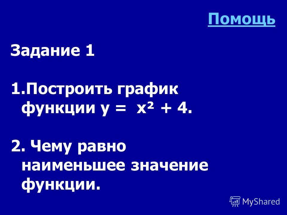 Задание 1 1.Построить график функции y = x² + 4. 2. Чему равно наименьшее значение функции. Помощь