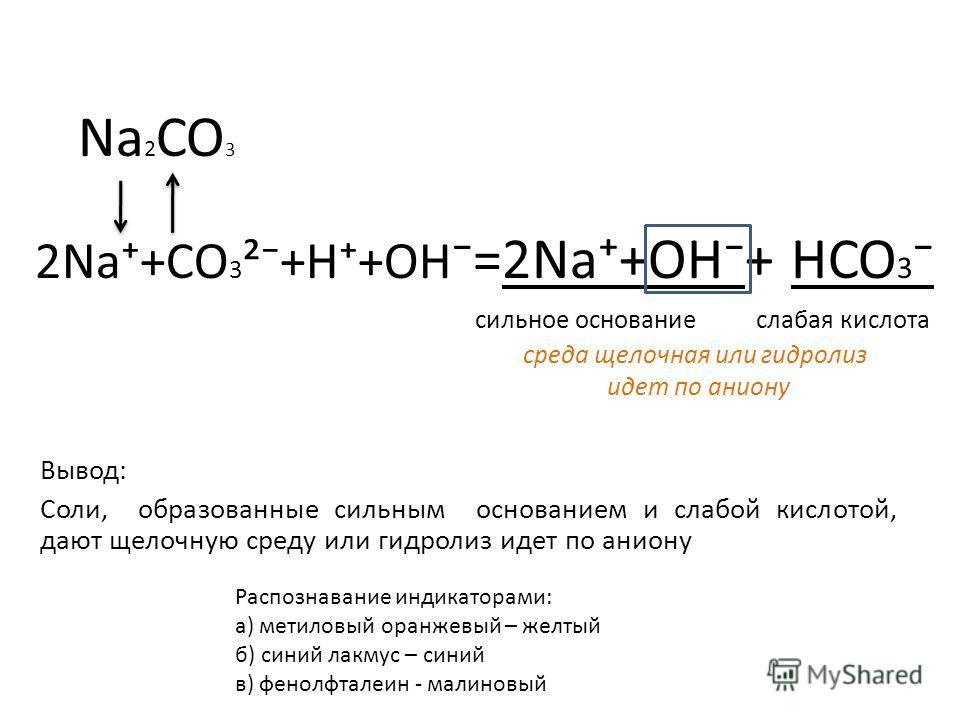 Na 2 CO 3 2Na+CO 3 ²+H+OH =2Na+OH+ HCO 3 сильное основание слабая кислота среда щелочная или гидролиз идет по аниону Вывод: Соли, образованные сильным основанием и слабой кислотой, дают щелочную среду или гидролиз идет по аниону Распознавание индикат