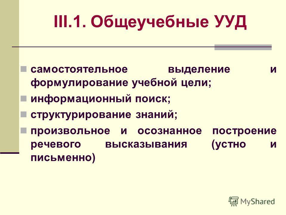 III.1. Общеучебные УУД самостоятельное выделение и формулирование учебной цели; информационный поиск; структурирование знаний; произвольное и осознанное построение речевого высказывания (устно и письменно)