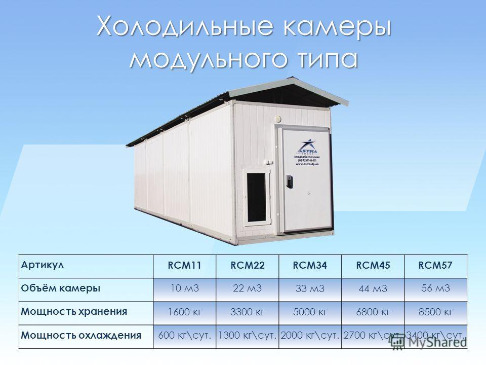 Холодильные камеры модульного типа Артикул RCM11RCM22RCM34RCM45RCM57 Объём камеры 10 м322 м3 33 м344 м3 56 м3 Мощность хранения 1600 кг3300 кг5000 кг6800 кг8500 кг Мощность охлаждения 600 кг\сут.1300 кг\сут.2000 кг\сут.2700 кг\сут.3400 кг\сут.