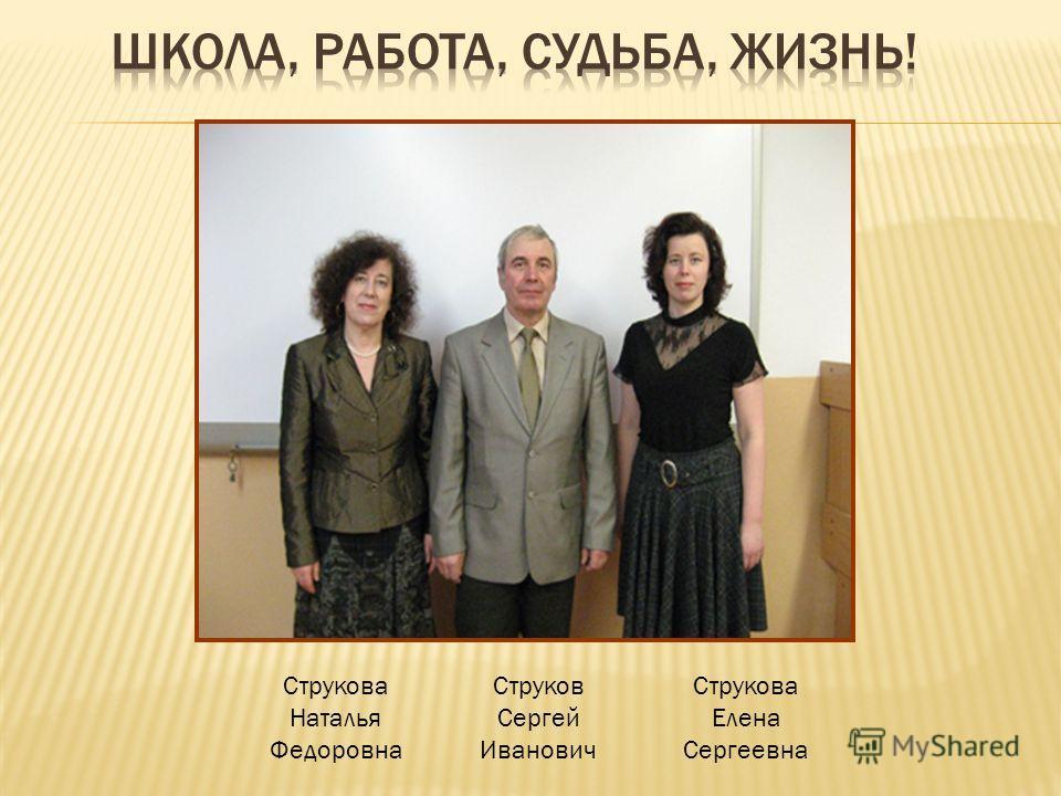 Струкова Наталья Федоровна Струков Сергей Иванович Струкова Елена Сергеевна
