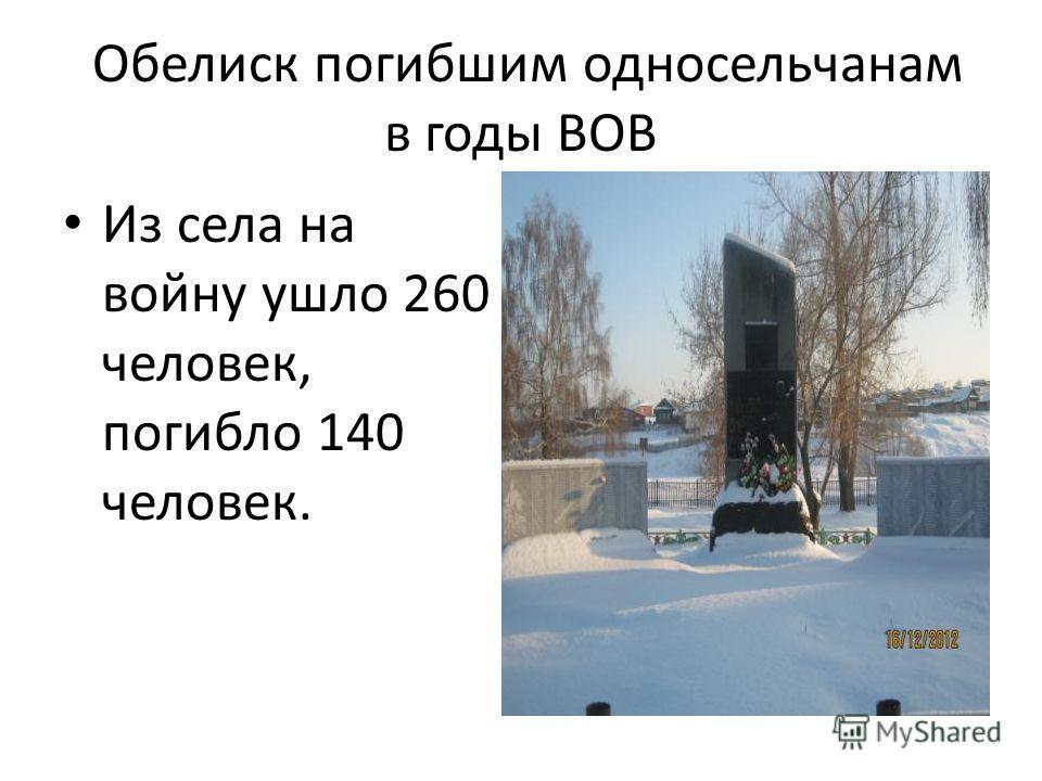 Обелиск погибшим односельчанам в годы ВОВ Из села на войну ушло 260 человек, погибло 140 человек.