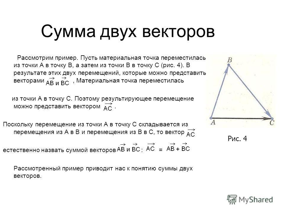 Сумма двух векторов Рассмотрим пример. Пусть материальная точка переместилась из точки А в точку В, а затем из точки В в точку С (рис. 4). В результате этих двух перемещений, которые можно представить векторами, Материальная точка переместилась из то
