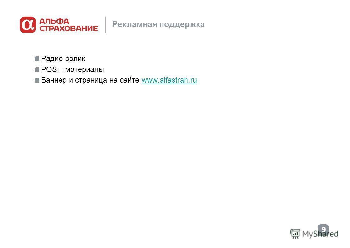 9 Рекламная поддержка Радио-ролик POS – материалы Баннер и страница на сайте www.alfastrah.ruwww.alfastrah.ru