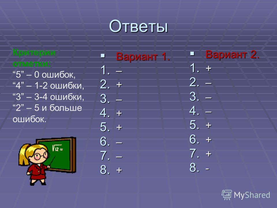 Ответы Вариант 1. Вариант 1. 1. – 2. + 3. – 4. + 5. + 6. – 7. – 8. + Вариант 2. Вариант 2. 1. + 2. – 3. – 4. – 5. + 6. + 7. + 8. - Критерии отметки: 5 – 0 ошибок, 4 – 1-2 ошибки, 3 – 3-4 ошибки, 2 – 5 и больше ошибок.