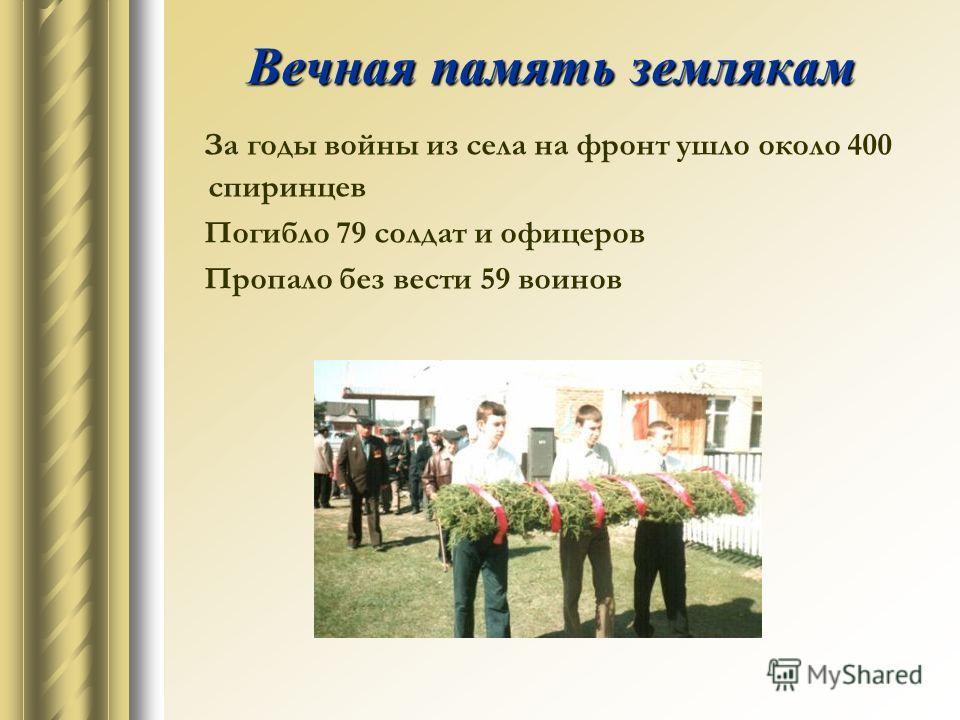 Вечная память землякам За годы войны из села на фронт ушло около 400 спиринцев Погибло 79 солдат и офицеров Пропало без вести 59 воинов