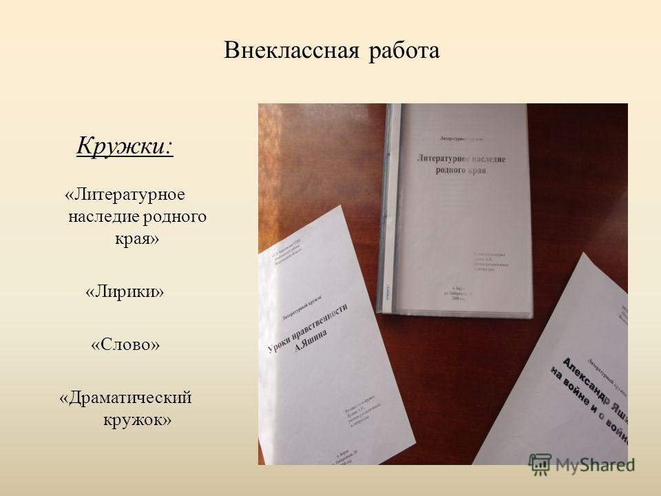 Внеклассная работа Кружки: «Литературное наследие родного края» «Лирики» «Слово» «Драматический кружок»