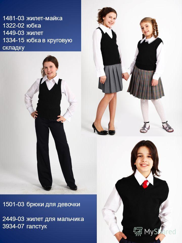 1481-03 жилет-майка 1322-02 юбка 1449-03 жилет 1334-15 юбка в круговую складку 1501-03 брюки для девочки 2449-03 жилет для мальчика 3934-07 галстук