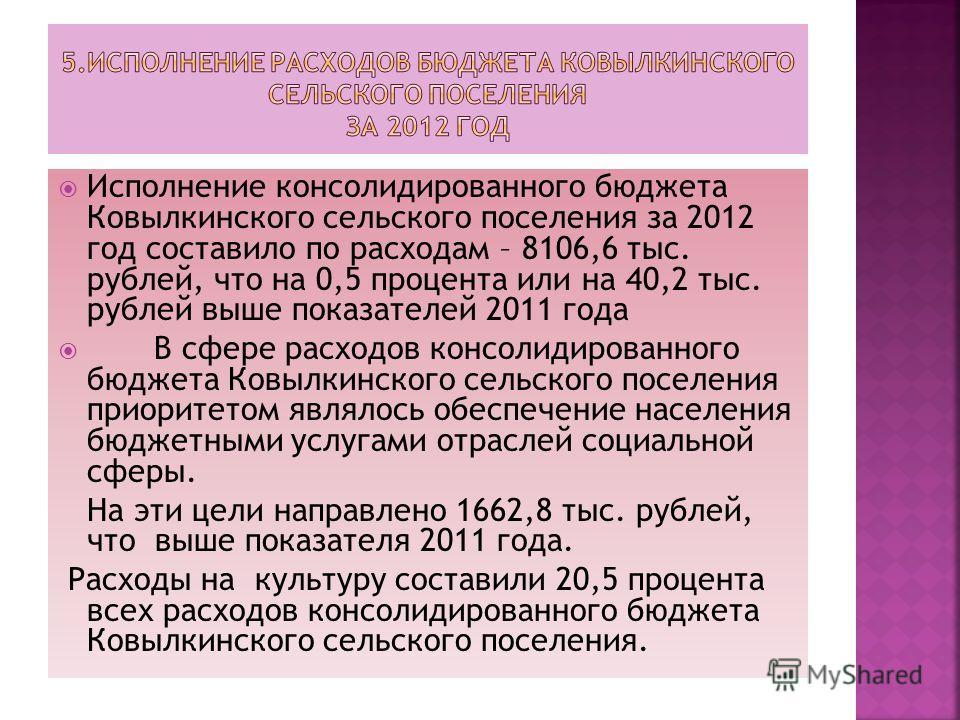 Исполнение консолидированного бюджета Ковылкинского сельского поселения за 2012 год составило по расходам – 8106,6 тыс. рублей, что на 0,5 процента или на 40,2 тыс. рублей выше показателей 2011 года В сфере расходов консолидированного бюджета Ковылки