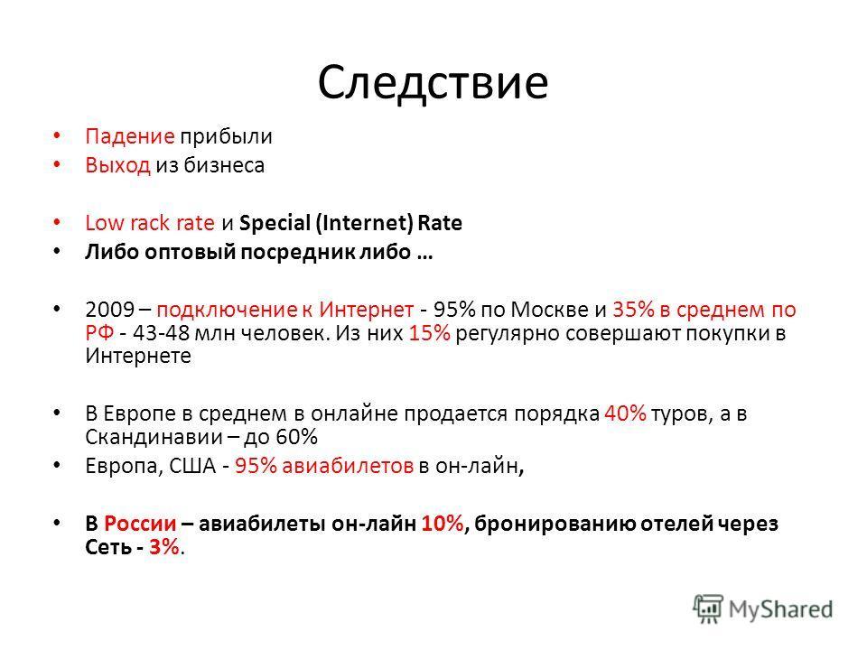 Следствие Падение прибыли Выход из бизнеса Low rack rate и Special (Internet) Rate Либо оптовый посредник либо … 2009 – подключение к Интернет - 95% по Москве и 35% в среднем по РФ - 43-48 млн человек. Из них 15% регулярно совершают покупки в Интерне